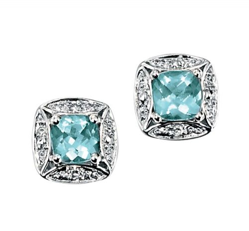 White Gold Aquamarine And Diamond White Gold Cluster Earrings